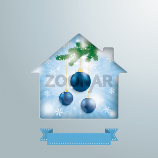 House Hole Blue Sky Christmas Baubles PiAd