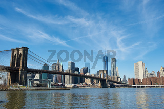 Brooklyn Bridge with lower Manhattan skyline