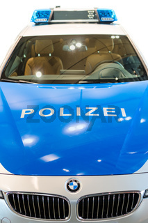 Closeup front view of new modern German police car