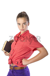 beautiful teenage girl wearing some books, isolated on white