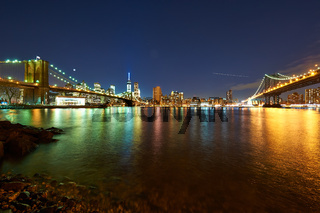 Manhattan skyline view at night from Brooklyn