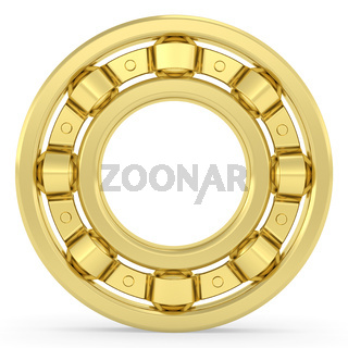 Golden bearing on white background. High resolution 3D image rendered with soft shadows