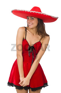 Woman wearing red sombrero isolated on white