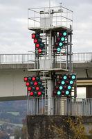 Ampelanlage für die Donauwasserstraße im Strudengau bei Grein, Oberösterreich, Österreich