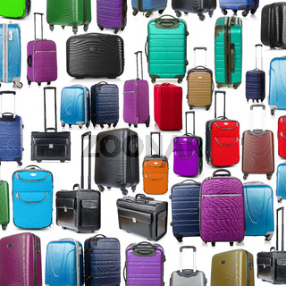 Background made of many suitcases on white