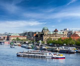 Tourist boats on Vltava river in Prague