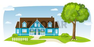 Blaues Landhaus