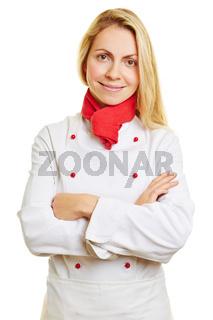 Frau als Koch mit verschränkten Armen