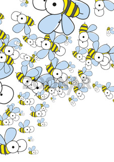 White Background With Bees. Spring Background.