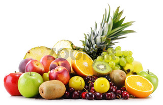 Composition with variety of fresh fruits. Balanced diet.