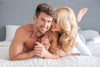 Sexy Young Couple on Bed Sweet Moments