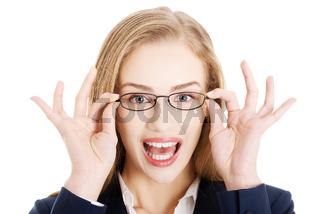 Portrait of beautiful business woman in eyeglasses.