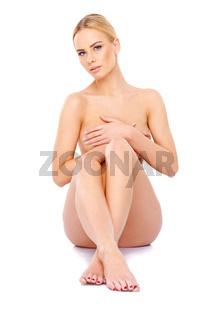 Cute woman posing topless