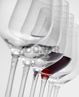 wine glasses in a row