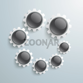 White Gears Black Buttons Growth 9 Steps PiAd