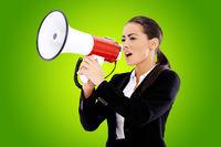 Business woman screaming loudly thru big megaphone