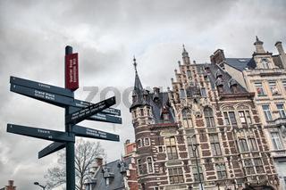 Tourist signpost in center of Brussels, Belgium