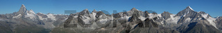 Beautiful panorama in Zermatt. Matterhorn, Zinalrothorn, Weisshorn...