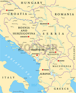 Zentralbalkan Politische Landkarte