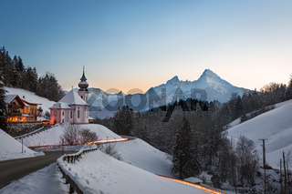 Maria Gern Church in Bavaria with Watzmann, Berchtesgaden, Germany Alps