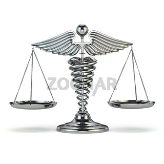 Medicine and justice. Caduceus symbol as scales. Conceptual image.