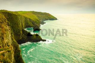 Irish landscape. Coastline atlantic ocean coast scenery.