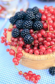 raspberries and redcurrants