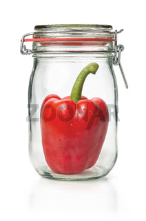 Fresh bell pepper in a canning jar