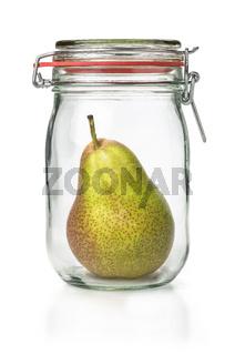 Fresh pear in a canning jar