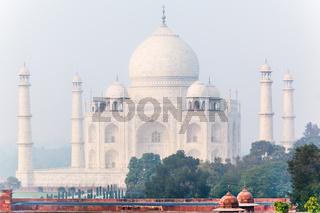 Taj Mahal in India  on a misty morning