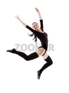 jumping girl in black leotard