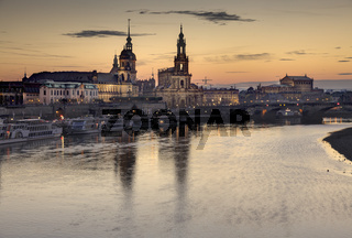 View of the Altstadt over the River Elbe, Dresden, Saxony, Germany