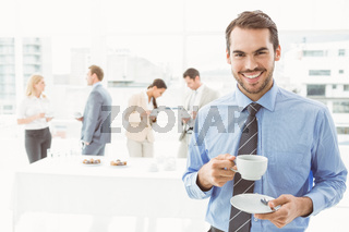 Work team during break time in office