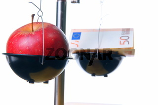 Red apple vs. cash supplements - apple in focus