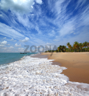 beach landscape with fishermen in India