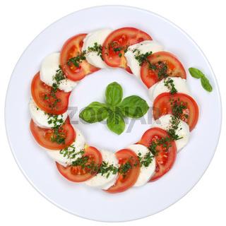 Salat Caprese mit Tomaten und Mozzarella Käse von oben