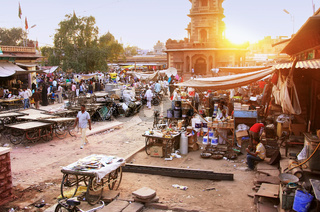 Busy street at Sadar Market, Jodhpur, India