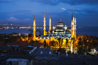 Blue mosque in the evening