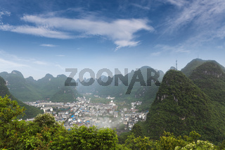 beautiful karst mountain landscape around yangshuo