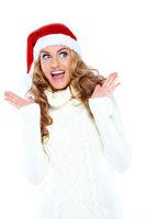 Surprised Pretty White Woman in Santa Hat