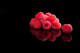 Delicious ripe raspberries.