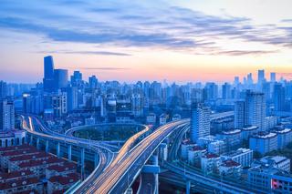 modern city overpass at dawn