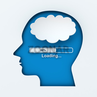 Human head with loading bar and thought bubble