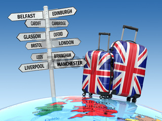 Travel concept. Suitcases and signpost what to visit in UK.