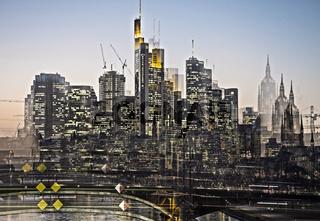 Frankfurter Skyline in Bewegung