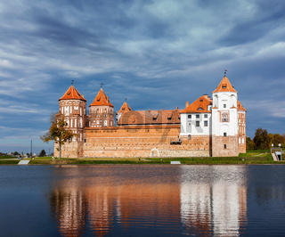 Travel belarus background - Medieval Mir castle famous landmark in town Mir