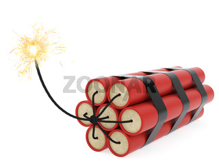 Dynamite with burning wick on white background. High resolution 3D image