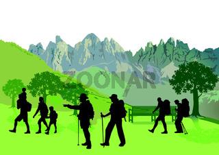 Wandern in den Bergen.eps