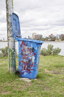 Dustbin with graffiti