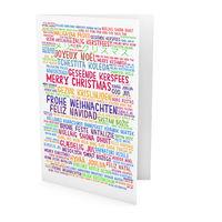 Grußkarte mit Weihnachtsgrüßen in vielen Sprachen